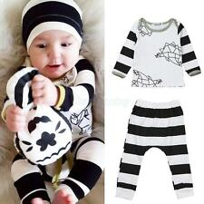 2pcs Newborn Toddler Infant Baby Boy Girl Clothes T-shirt Tops+Pants Outfits Set