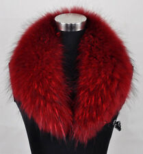 Sexy New Large Warm Red Women Real Genuine Raccoon Fur Collar Scarf/Shawl/Wrap