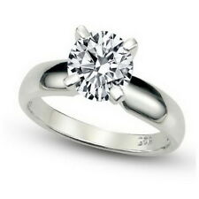 1.25 Carat Tw Round Cut Solitaire Sterling Silver Cubic Zirconia Engagement Ring