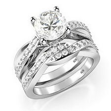 Round Brilliant Cut Sterling Silver 925 Cubic Zirconia CZ Engagement Ring Size