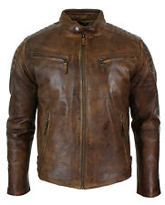 New Mens Biker Motorcycle Cafe Racer Antique Wax Distressed Brown Leather Jacket
