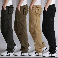 Hot sale! Mens Loose Military Cargo Overall Pockets Casual Long Pants Plus Sz