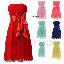 New Strapless Neck Formal Prom Party Bridesmaid Dress Cocktail Evening Size 6-22