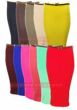 P97NEW WOMENS LADIES HIGH WAISTED BELTED RIB BANDAGE OFFICE BODYCON PENCIL SKIRT