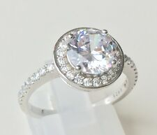 Solid Sterling SILVER STAMPED 925 RHODIUM PLATED SIMULATED DIAMOND RING