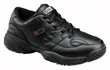 Skidbuster Mens Slip Resistant Athletic M Black Action Leather Shoes