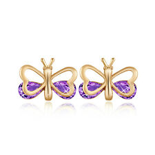1 Pair 18K Gold Plated Oval Rhinestone Charm Ruby Butterfly Stud Earrings