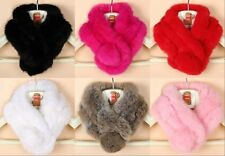 Women  Winter Real Rabbit fur Scarf Stole Cape Collar Wrap Scarves Shawl