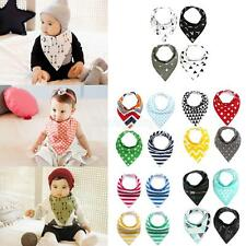 4pcs Colored Snap Buttons Cotton Kids Baby Bandana Drool Bibs Saliva Towel
