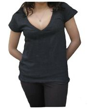 Women's Cotton Blend V-neck T-shirt with Short/Capped Sleeves Soft Light