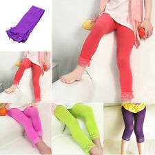 4-10Y Baby Kids Girls Skinny Pants Lace Solid Warm Stretchy Leggings Trousers SP