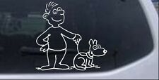 Man and Dog Stick Family Decal Car or Truck Window Laptop Decal Sticker 6X6.1