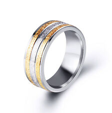 8mm Mens Rings Stainless Steel 2 Tone Scrub Band Men's Ring Size 7-11