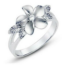 Plumeria Maile Leaf Hawaiian Flower 925 Sterting Silver Cubic Zirconia CZ Ring