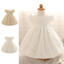 Baby Infant Lace Flower Girl Dress Wedding TUtu Pearl Baptism Christening Gown