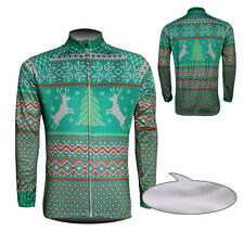 New Cycling Long Sleeve Mens Riding Jersey Thermal Fleece Winter Christmas Trees
