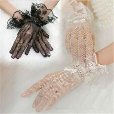 Hot Bridal Short Gloves Wedding Prom Party Full Finger Tulle Lace Wrist Mittens