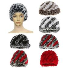 Luxury Faux Rex Rabbit Fur Hat Knit Lining Winter Women Hat