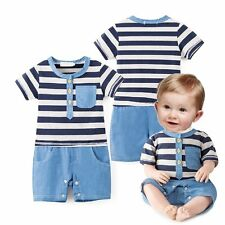 Baby Boy Summer Sailor Party Casual Striped Suit Outfit One Piece Romper Clothes