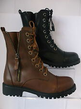 Ladies Black/Brown Lace Up Zip Up Boot Spot On F50326