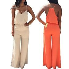 V Neck Backless High Waist Elegant Jumpsuit Wide Leg Rompers Womens