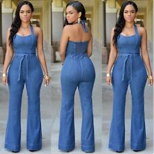 Women Girls Washed Jeans Denim Casual Hole Jumpsuit Romper Overalls Light Blue