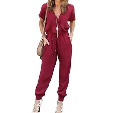 Women Jumpsuits V Neck Short SleeveSolid Rompers Loose Casual long Jumpsuits