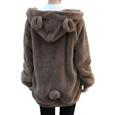 Women Hoodies Loose Fluffy Bear Ear Hooded Jacket Warm Outerwear Sweatshirt