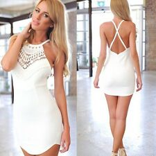 Women Slim Lace Gallus Cross Sleeveless Backless Dress Solid White Party Dress