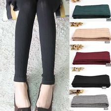 Women Winter Thick Warm Knit Lined Footless Slim Stretch Skinny Leggings Pants