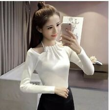 Women Off Shoulder Slash Neck Knitted Sweater Pullover Warm Sweaters Pullovers