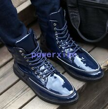 Mens Chic High Top Lace Up Flats Shiny Leather Punk Cowboy Sneaker Ankle Boot sz