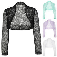 Womens Lady LACE Long Sleeve Cropped Bolero Shrug Cardigan Jackets Top Plus Size