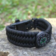 550 Paracord Survival Bracelet with Compass Flint Fire Starter Whistle Gear Kits