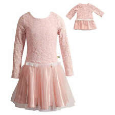 Dollie Me Girl 4-14 and Doll Matching Pink Lace Mesh Dress Clothes American Girl