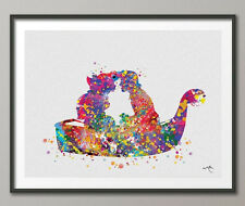 The Little Mermaid Ariel and Eric Kiss Watercolor Print Wall Art Poster