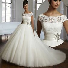Stock New White/Ivory A-Line lace beads Wedding Dress Bridal ball Gown Size 6-18