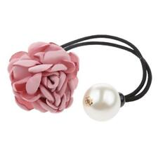 Elegant Girls Rose Flower Pearls Hairband Ponytail Holder Hair Band