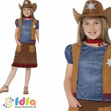 WESTERN BELLE COWGIRL WILD WEST RODEO Age 4-12 Girls Childs Fancy Dress Costume