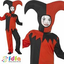 TWISTED JESTER CIRCUS CLOWN HALLOWEEN Age 4-12 Boys Childs Fancy Dress Costume