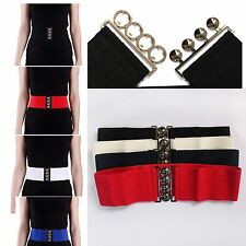 "Hot* Womens Fashion Elastic Cinch Belt 3"" Wide Stretch Waist Band Clasp Buckle *"