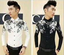 Men's Stylish Floral Slim Fit Pop Long Sleeve Casual Dress Top Black/White Shirt