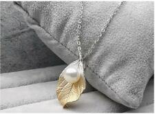 """7.5-9MM AAA White Real Akoya Pearl Pendant Necklace Sterling Silver 15.7"""" Chain"""