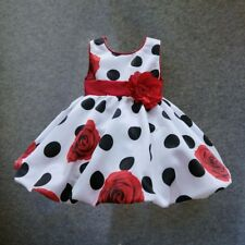 Baby girls dress Black Dot Red Bow infant summer dress for birthday party sleeve