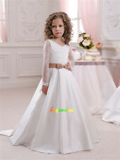 Lace Tulle Flower Girl Dress Wedding Easter Junior Bridesmaid Prom Long tail