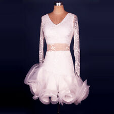 White Women Latin Dance Dress Chacha Salsa Rumba Samba Ballroom Competition L055
