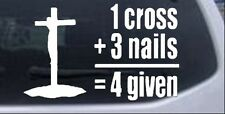 1 Cross + 3 Nails Car or Truck Window Laptop Decal Sticker Religious 12X7.5