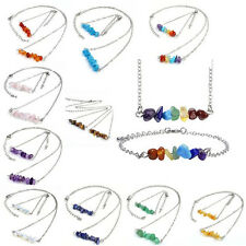 Jewelry Set Gift Silver Natural Irregular Gemstone 7 Chakra Neckalce & Bracelet