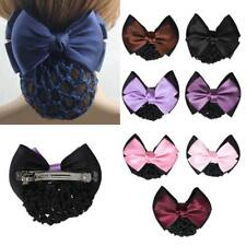 High Quality Women Lady Bow Barrette Hair Clip Cover Bowknot Bun Snood Hairnet