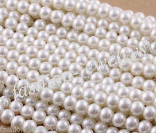 Wholesale 20-100x White Glass Pearl Round Spacer Loose Bead Craft Free Shipping